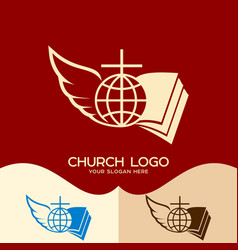 cross of jesus open bible globe and angel wing vector image