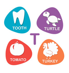 cute alphabet in t letter for tooth vector image