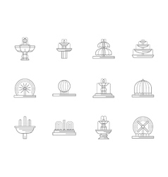 Decorative fountains flat line icons set vector