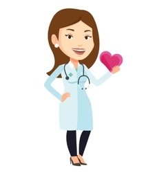 Doctor cardiologist holding heart vector image vector image