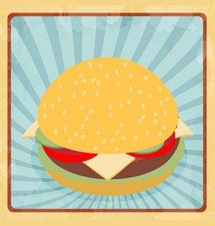 Fast food hamburger retro grunge flat vector