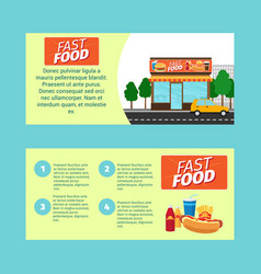 Fast food horizontal flyers vector