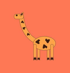 Flat icon on background kids toy giraffe vector