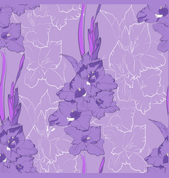 flower seamless pattern from light purple gladiol vector image