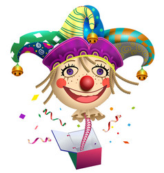 Funny clown buffoon head to jump out of box fools vector