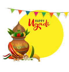 Happy ugadi greeting card text indian holiday vector