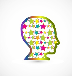 Human head with stars background vector image vector image