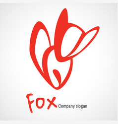 logo with orange fox vector image vector image