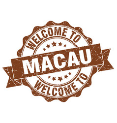 macau round ribbon seal vector image vector image