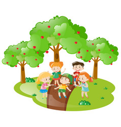 many children playing game in the garden vector image