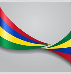 Mauritius wavy flag vector