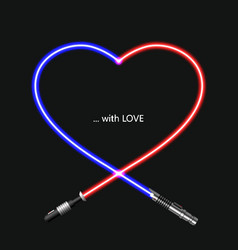 Modern concept heart and lightsaber for vector