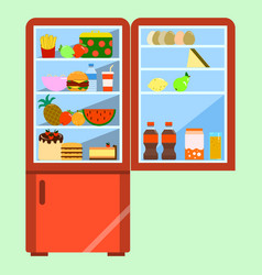 open red refrigerator with food flat style vector image