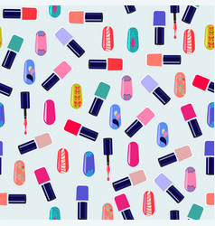 pattern of colorful nail polish bottles vector image vector image