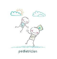 pediatrician playing with child vector image