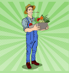 Pop art farmer holding basket with vegetables vector