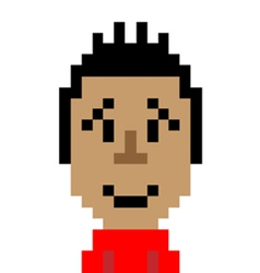 Red shirt man smile emoticon pixel art character vector