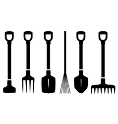 Set isolated garden tools vector