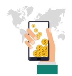 Smartphone and coins icon shopping online design vector