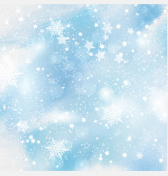 Snowflakes and stars on watercolour background vector