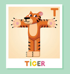 t is for tiger letter t tiger cute vector image