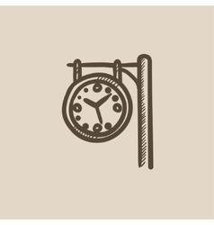 Train station clock sketch icon vector image vector image