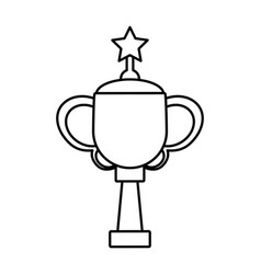 Trophy star winner game outline vector