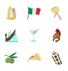 Venice icons set cartoon style vector