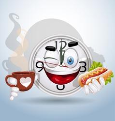 Watch smiley enjoying lunch break vector image
