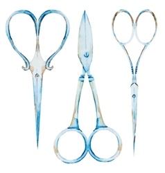 Watercolor vintage scissors vector image