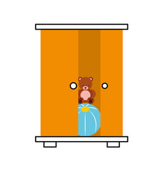 Wooden closet with toys vector