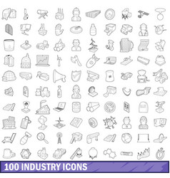 100 industry icons set outline style vector image