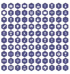 100 medal icons hexagon purple vector