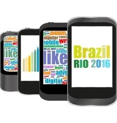 Brazil Rio 2016 Summer Games smart phone vector image
