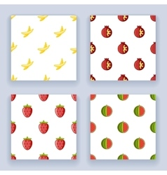 Flat design fruit seamless pattern set icons line vector image