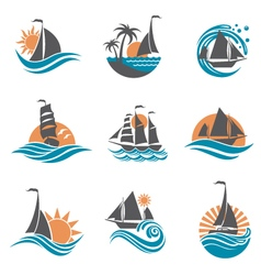sailboat and yacht icons vector image