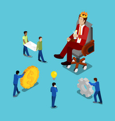 Isometric business people businessman in crown vector