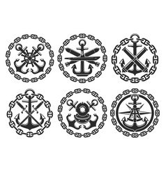 Marine and nautical heraldic anchor icons vector