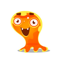 funny cartoon friendly slimy monster cute bright vector image