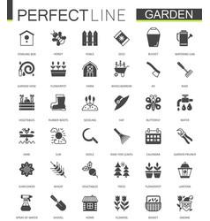 Black classic web gardening icons set vector
