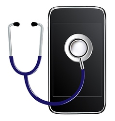 Stethoscope With Mobile Phone vector image