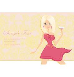 Beautiful girl with glass martini vector image
