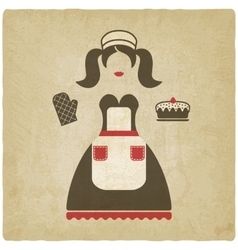 Baking concept girl with pie old vector