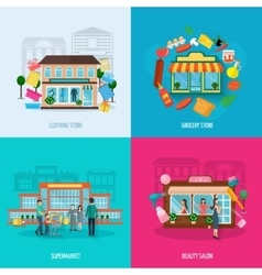 Different stores icons set vector