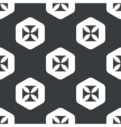 Black hexagon maltese cross pattern vector