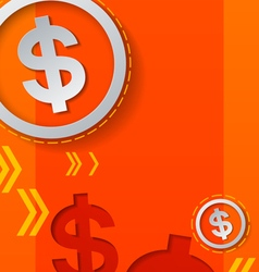 Dollar signs and arrows on orange background vector