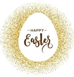 Happy easter greeting card with gold egg vector