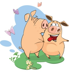 Pigs sharing love vector