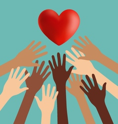 Group of diversity hand reaching for the red heart vector