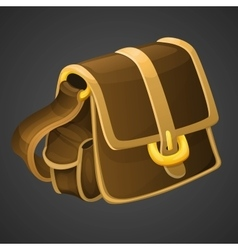 Cartoon old leather bag icon for 2d games vector